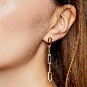 Drop Down Chain Golden Earrings